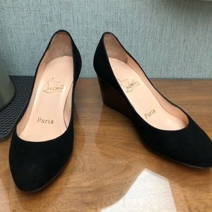 Christian Louboutin Black Suede Wedges 34.5 / 4.5